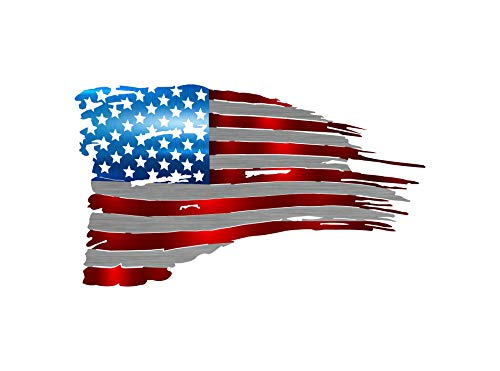 (Tattered Flag Steel Laser Cut Wall Art with a Vibrant Color American Flag Pattern 24