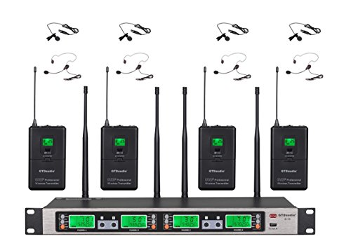 GTD Audio UHF 4 x100 Selectable Frequency Channel Professional 4 Wireless Lapel Lavalier microphone Mic System by GTD Audio