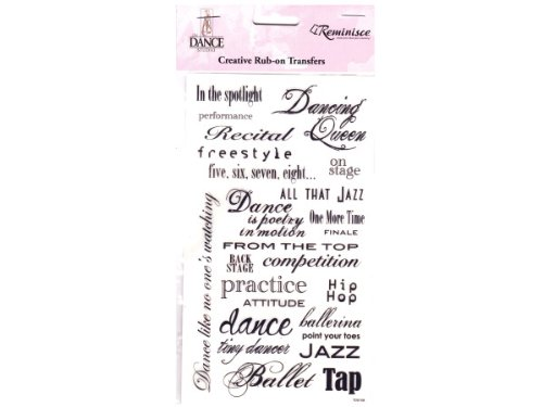 Reminisce The Dance Studio Rub-On Transfers 4 Inch by 7 Inch Sheet-Phrase