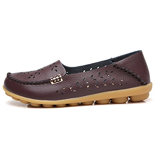 Moccasins Women's B Coffee Shoes Slippers on Scien Slip Driving Loafers Casual Walking Leather Flat fddqU0