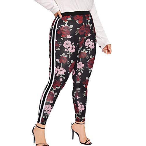iHPH7 Leggings Women's Solid Leggings Soft Workout Pants Stretchy Plus Size Printed Elastic Fitness Sports Leggings Yoga Athletic Pants (XXXXL,7- Black)