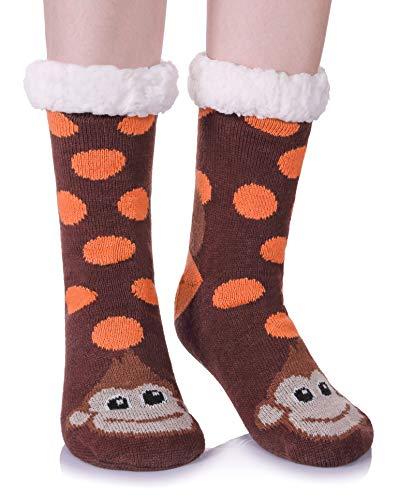 (AOXION Women's Soft Warm Cute Animal Fuzzy Fleece Lining Knitting Non-Slip Winter Slipper Socks (Brown Monkey))