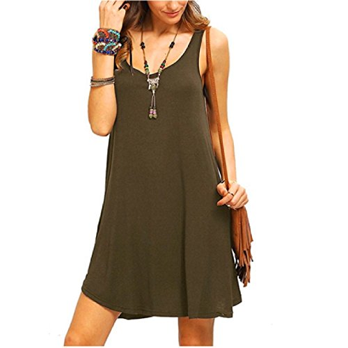 Dress Slip Colored Flared Coolred Crew Women Army Solid Swing Sleeveless Neck Green Vests xqv6pUwv
