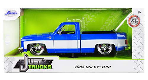 1985 Chevrolet Silverado C-10 Pickup Truck Custom Blue and White Just Trucks Mijo Exclusive 1/24 Diecast Model Car by Jada 31606