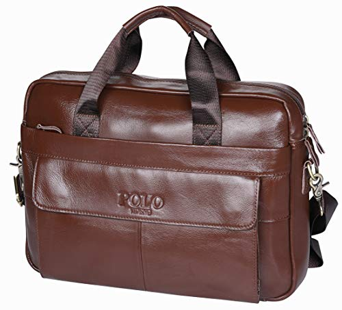 aafcf5d73cd1 VIDENG POLO Handmade Briefcase Top Grain Leather Laptop Bag Messenger Shoulder  Bag for Business Office 15 inch MacBook (Coffee Brown-CP)
