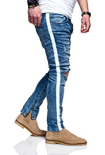 mäßiger Preis Super Qualität Beamten wählen MT Styles Herren Stripe Jeans Hose Streifen JN-3634