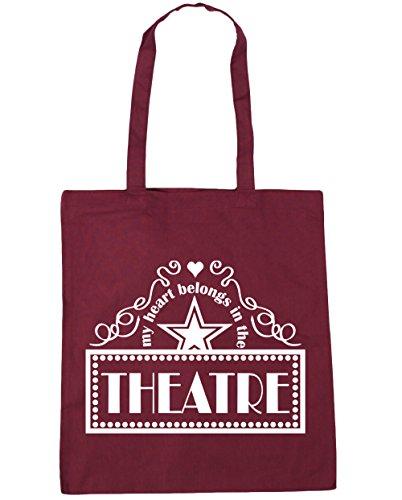 HippoWarehouse mi corazón pertenece en el teatro Tote Compras Bolsa de playa 42cm x38cm, 10litros granate