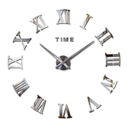 FASHION in THE CITY Mirror Surface 3D DIY Wall Clocks Room Decorative Wall Watches (Silver)