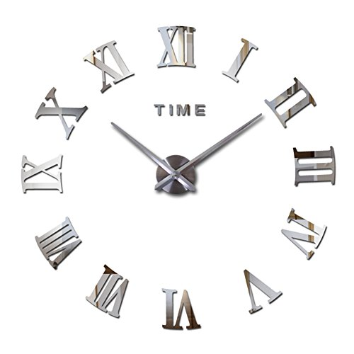 - FASHION in THE CITY Mirror Surface 3D DIY Wall Clocks Room Decorative Wall Watches (Silver)