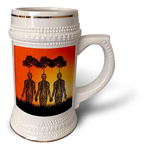 3dRose Russ Billington Designs - Surreal Plant Nursery Design with Parasitic Trees Growing on Humans - 22oz Stein Mug (stn_294385_1) ()