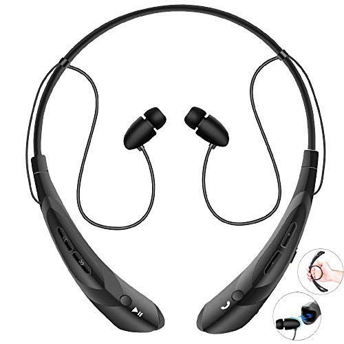 - Bluetooth Neckband Headphones with Magnetic Earbuds, V4.2 Flexible Wireless Bluetooth Headset with Mic Sports Headphones for Running HD Stereo Noise Cancelling Earphones for iPhone Samsung LG(Black)