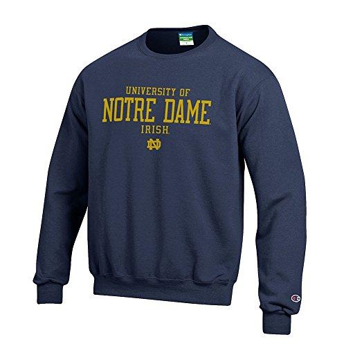 Elite Fan Shop University of Notre Dame Fighting Irish Crewneck Sweatshirt Navy - M - Notre Dame Irish Crew Sweatshirt