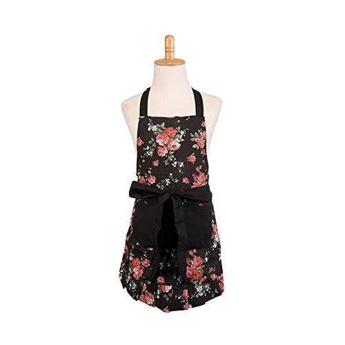 Cotton Apron for Kids Girls with Pockets, Black Peony Floral Pattern Apron for Children, Great Christmas Gift for Daughters Little Girls (Kid Girl) (Apron Patterns Children)
