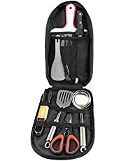 Camping Utensils Outdoor Cooking Camping Accessories 8-Piece Kitchen Travel Cookware Set in Compact Portable Bag