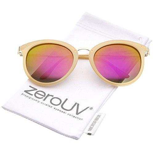 zeroUV - Modern Slim Metal Temple Colored Mirror Lens Cat Eye Sunglasses 54mm (Nude-Gold / Magenta - Nude Sunglasses Cat Eye