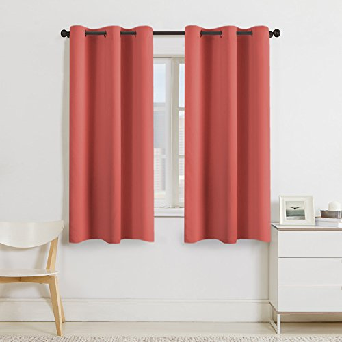 Turquoize 99% Blackout Curtains Energy Efficient Solid 2 Panels Thermal Insulated Girls Room Curtain Set Color Coral Curtain Drapes Each Panel 42