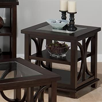 Jofran 966-3 Concentric Circle Design Beveled Glass End Table in Panama Brown