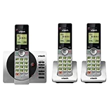 VTech DECT 6.0 Three Handset Cordless Phone with ITAD, CID, Backlit Keypads and Screens, Full Duplex Handset Speakerphones, Call Block Silver/Black