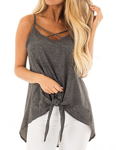 Blooming Jelly Women's Sleeveless V Neck Criss Cross Camisole Spaghetti Strap Tank Top High Low Knot Shirt Top(Grey, (Knot Cross)