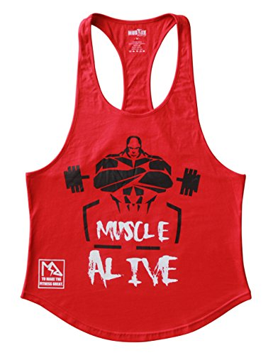 MUSCLE ALIVE Mens Bodybuilding Stringer Tank Tops Cotton Racerback Arch Hem Red Color Size L ()