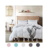 MOVE OVER 2 Pieces White Bedding All White Duvet Cover Set Bowknot Design Soft White Kids Bedding Set Twin One Duvet Cover One Bowknot Pillowcase (Twin, White)
