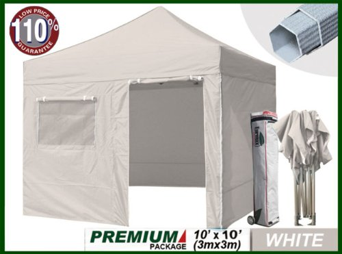 Eurmax Premium 10 X 10 Ez Pop up Tent Mid Commercial Level with 4 Zipper End Sidewalls+roller Bag