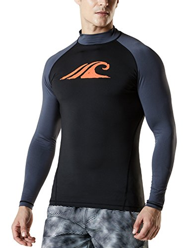 TSLA Men's UPF 50+ Long Sleeve Rashguard, Print(msr12) - Black & Charcoal, X-Large. ()