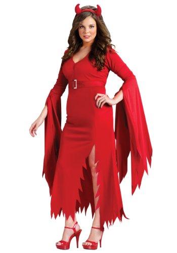Fun World Women's Gothic Devil Costume, Red, Plus (Gothic Devil Costume)