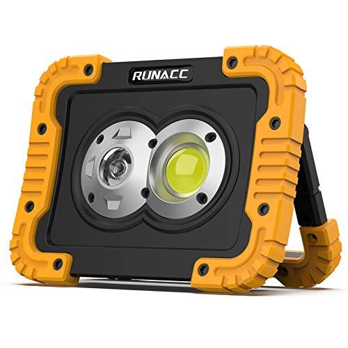 RUNACC LED Baustrahler Akku Led Arbeitsleuchte 4400mAh Wiederaufladbares Camping Licht Tragbares USB Arbeitslicht 3…