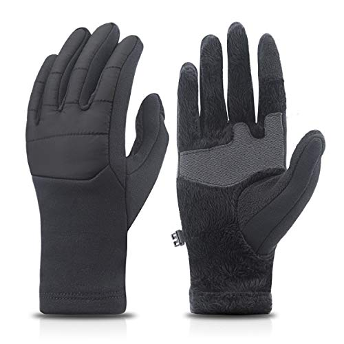 (Achiou Winter Warm Touchscreen Gloves For Men Cold Proof Windproof Thermal Thicken Cold Weather Gloves for Driving Running (Black))