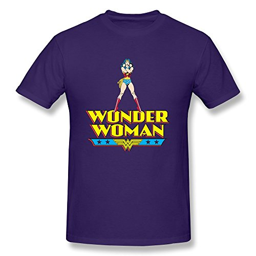 AOPO Wonder Woman WW LOGO O-Neck T Shirt For Men X-Large Purple