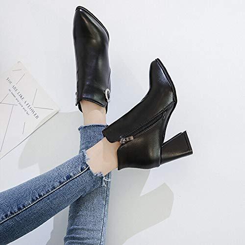 Éclair Rouge bottes Rbnb Talons Rétro Black À Classiques Antidérapant Fermeture Hiver Chaussures Sexy Femme Cuir Bottes Casual RFFdwHq76