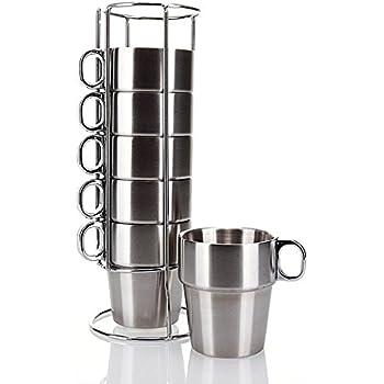 Amazon Com Nambe Bulbo Mug Stack Set Of 4 Coffee Cups