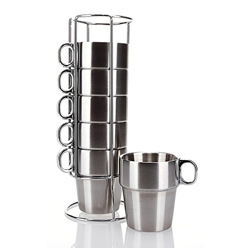 MyLifeUNIT Stainless Steel Insulated Cups Coffee Cups, Double Layer Heat Insulation, Set of (Stackable Coffee Mugs)