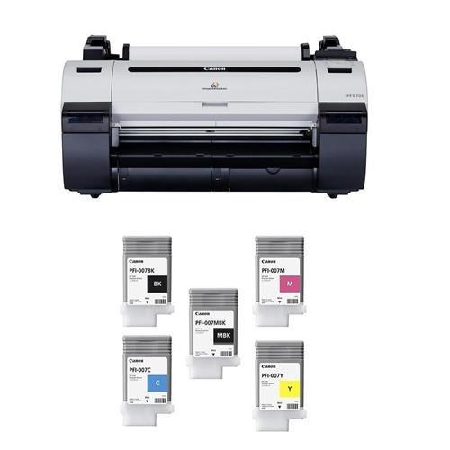 Canon imagePROGRAF iPF670E 24in Large-Format Inkjet Photo Printer without Stand - With 90ml Dye Ink Tank Bundle - PFI007BK Black, PFI007C Cyan, PFI007M Magenta, PFI007MBK Matte Black, PFI-007Y Yellow