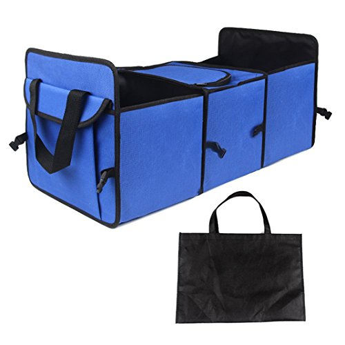 Rosa Schleife Foldable 3-Compartments Car Organizer Sièges Organiseurs Voiture Cooler Multi-Pockets Travel Storage Bag Car Storage Basket Seat Voyage Hanger Mesh Pocket Auto Accessory pour SUV, Minivan or Truck