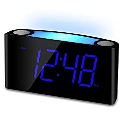 "Mesqool 7"" Digital Alarm Clock, 7 Colored Night Light, Large LED Digits Full Dimmer, USB Chargers, 12/24 Hour, Loud Alarm, Outlet Powered Heavy Sleepers, Bedroom, Home, Kitchen, Desk, Kids"