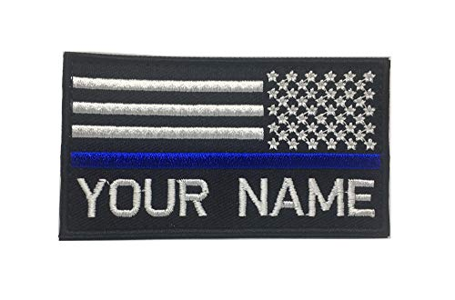 (Personalized Custom Embroidered USA Flag with Thin Blue Line Name Patch Hook Fastener Backing (Reverse))