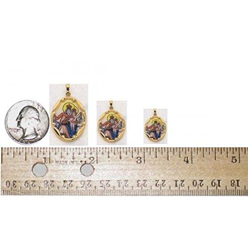 14K Gold and Porcelain Scapular Religious Medal - Solid 14k Yellow Gold 1 in X 3/4 in (25.0mm X 19.5mm) -