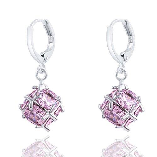 duo-la-elegant-pink-rhinestone-ball-shape-lady-charm-hoop-earrings