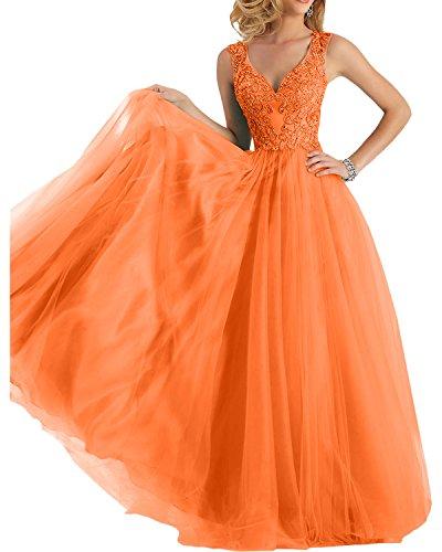 Fesltichkleider A Braut Orange V Abschlussballkleider Partykleider Linie Rock Abendkleider Prinzess mia La Ausschnitt Damen UxqwpnSxT7