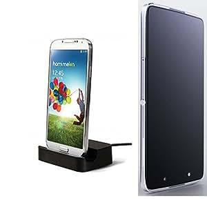 Dock USB Micro adecuado para el Alcatel Idol 4, negro | estación de carga incluyendo el cable USB 2.0 cable de datos / cargador, la horquilla del muelle de escritorio cargador universal adecuado para el teléfono móvil para smartphones con conector micro USB, cargador de escritorio del cargador, marca: KS-Comercio (TM). compatible con Alcatel Idol 4