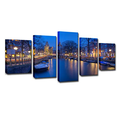5 Panel Wall Art HD Printing Amsterdam Holland Canal Beautiful Night Landscape Photography Pictures Photo Paintings on Canvas Home Decoration Hanging Artwork for Living Room Bedroom