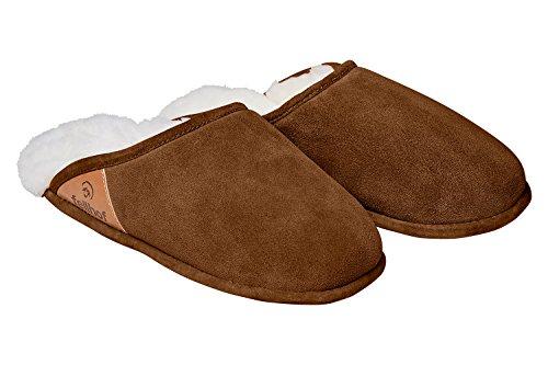 Pantofola In Pelle Di Agnello Fellhof Trendy, Con Comoda Suola In Cuoio, Foderata Con Montone, Termoregolante (40/41, Marrone)