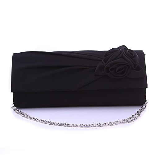 Women Rose Pleated Satin Wedding Evening Bridal Clutch Purse With Rhinestones Black by ANSAN