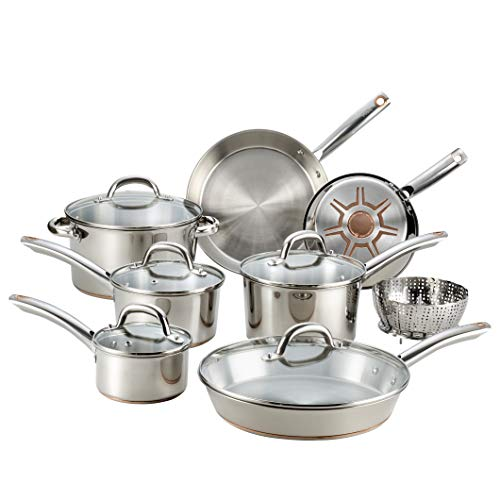 - T-fal C836SD Ultimate Stainless Steel Copper Bottom 13 PC Cookware Set, Dishwasher Safe Pots and Pans Set, Silver