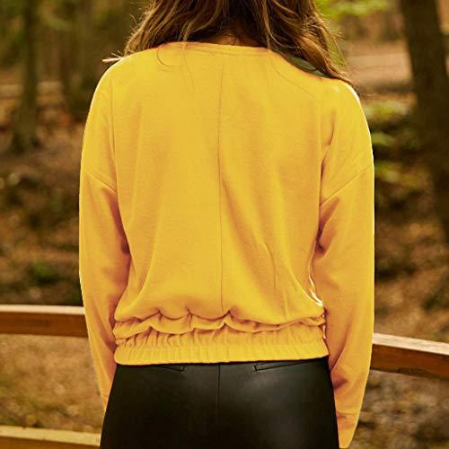 Manches Chic T Rond Casual Col Courtes Pas Femme Cher Lâche Soiree Tops Jaune Couleur ❤️binggong Grande Femme Shirt Unie Chemisier Taille Tunique Blouse Chemise OYqPtdwY