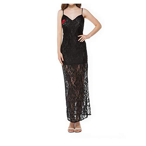 Rosa de Black con y Isbxn Black XL en Hendidura Encaje de Color Elegante Size Vestido Cabestro Temperamento Encaje wnqRS7H