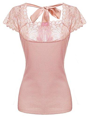 Zeagoo Women Curved Hem Sheer Short Sleeves Floral Lace Back Bow Tie Top,Pastel ()