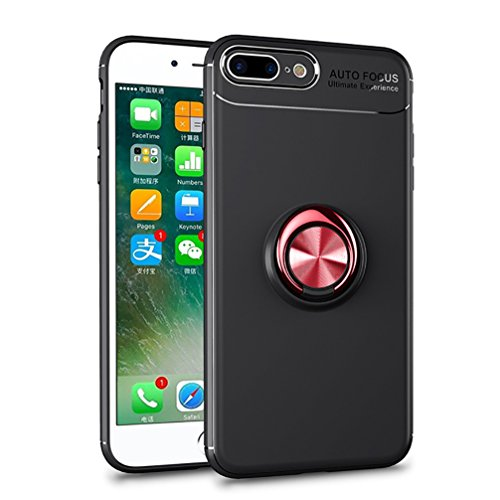 Price comparison product image ANERNAI iPhone 7 Plus 360Degree Rotating Ring Shockproof Compatible Magnetic Car Mount Cover for iPhone 7plus (Black-red)